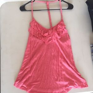 Pink tank top with braided straps size m